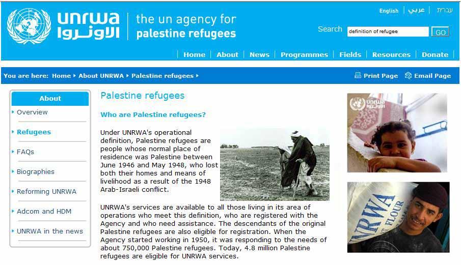 UNRWA's operational Definition - 2011